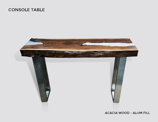 Side Table, Molten Wood Side Table, Molten Metal Side Table, Euca Wood,