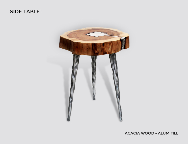 Molten metal wood furniture at Aglow Exports Inc |Molten Wood|Coffee